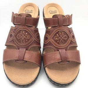 NEW Clark's Leisa Higley Chestnut Leather Sandals